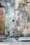 Arte da parede da rua de Penang fotos de stock