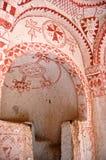 Arte da pintura de parede em cavernas de Goreme imagem de stock