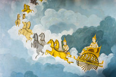 A arte da religião do vintage da pintura mural Imagens de Stock