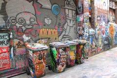 Arte da rua e escaninhos de lixo em Melbourne Imagem de Stock Royalty Free