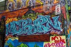 Arte da rua na pista de Rutledge em Melbourne, Austrália Foto de Stock Royalty Free