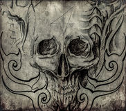 Arte da tatuagem, esboço do crânio com projetos tribais Fotografia de Stock