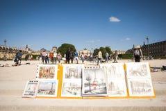 Arte da vendere in parco parigino Immagini Stock