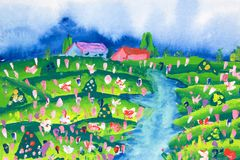 Arte das crianças - exploração agrícola Fotografia de Stock Royalty Free