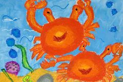 Arte das crianças - vida marinha ilustração stock