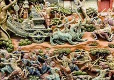 Arte de cinzeladura de madeira de Tailândia Fotografia de Stock