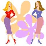 Arte de clip de 2 muchachas de la manera ilustración del vector