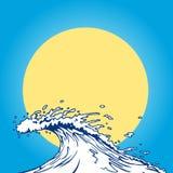 Arte de clip de la historieta de la onda de océano Fotos de archivo libres de regalías