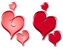 Arte de clip de los corazones de la tarjeta del día de San Valentín de la caligrafía Fotos de archivo libres de regalías