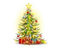 Arte de clip de los regalos del árbol de navidad Imagen de archivo