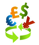 Arte de clip del convertidor del dinero en circulación Imagen de archivo libre de regalías