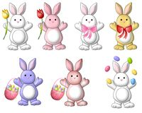 Arte de clip lindo de los conejitos de pascua de la historieta stock de ilustración