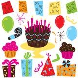 Arte de clip retro de la fiesta de cumpleaños stock de ilustración