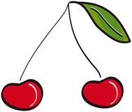 Arte de clip rojo de las cerezas Imágenes de archivo libres de regalías