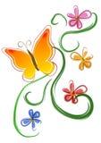 Arte de grampo 01 das flores de borboleta Imagem de Stock Royalty Free