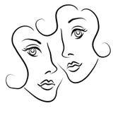 Arte de grampo 2 dos pares da lésbica Imagem de Stock Royalty Free