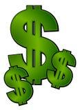 Arte de grampo do dinheiro dos sinais de dólar Fotografia de Stock
