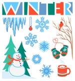Arte de grampo do inverno ajustada/eps ilustração stock