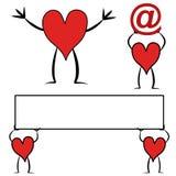 Arte de grampo vermelha do personagem de banda desenhada do coração Fotografia de Stock