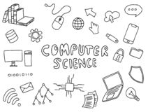 Arte de informática del garabato de la educación que dirige con vector blanco y negro del esquema del color stock de ilustración