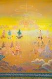 Arte de la acuarela de la historia del budismo en la pared del santuario Fotografía de archivo libre de regalías