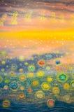 Arte de la acuarela del loto en la pared del santuario Fotografía de archivo libre de regalías