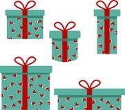 Arte de la caja de regalo con los corazones decorativos ilustración del vector