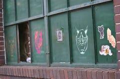 Arte de la calle con las etiquetas engomadas Imagen de archivo