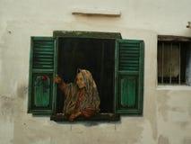Arte de la calle con la mujer musulmán en Malaca Melaka, Malasia fotografía de archivo libre de regalías