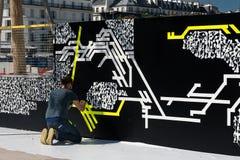 Arte de la calle en el DES Halles - París de Quartier Imágenes de archivo libres de regalías