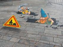 Arte de la calle que muestra la ilusión óptica Imágenes de archivo libres de regalías