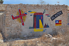 Arte de la calle una pared brillantemente pintada Imagen de archivo