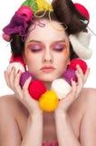 Arte de la cara del color de la mujer de la manera Imágenes de archivo libres de regalías