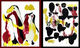 Arte de la familia de Penguine ilustración del vector