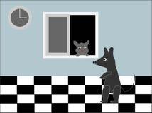 Arte de la historieta del gato y del ratón imagen de archivo libre de regalías