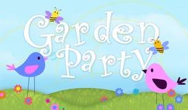 Arte de la invitación de la fiesta de jardín con el ejemplo de los pájaros y de las abejas stock de ilustración