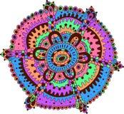 Arte de la mandala del garabato La historieta se relaja y arte psicodélico meditativo Fotografía de archivo