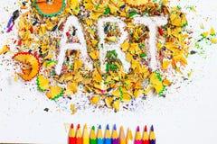 Arte de la palabra sobre virutas Fotografía de archivo libre de regalías