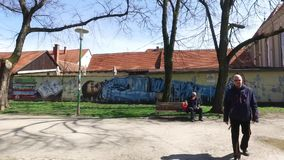 Arte de la pintada en capital del croata de Zagreb