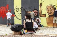 Arte de la pintada en Sao Paulo, el Brasil fotos de archivo
