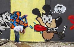 Arte de la pintada en Sao Paulo, el Brasil Imágenes de archivo libres de regalías
