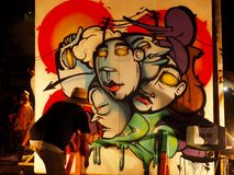 Arte de la pintura de espray de la lona fotos de archivo