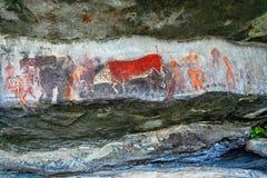 Arte de la roca del bosquimano Fotografía de archivo