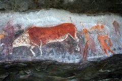 Arte de la roca del bosquimano Fotografía de archivo libre de regalías