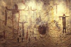 Arte de la roca del pictograma en el parque histórico del estado del Seminole, TX Foto de archivo