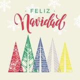Arte de la tarjeta de felicitación de las vacaciones de invierno de España Feliz Navidad de los árboles de navidad libre illustration