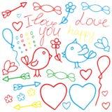 Arte de la tarjeta del día de San Valentín del amor Clipart dibujado mano romántica del vector del garabato adentro Fotografía de archivo libre de regalías