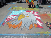Arte de la tiza: Eagle calvo americano Foto de archivo libre de regalías