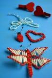 Arte de las mariposas de las gotas y corazones rojos Fotografía de archivo libre de regalías