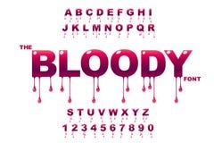 Arte de los descensos Arte sangriento Arte del atasco Vector de la fuente intr?pida moderna y del alfabeto libre illustration